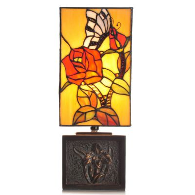"434-925 - Tiffany-Style 16"" Butterfly Kisses Antiqued Floral Stained Glass Accent Lamp"