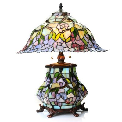 "434-927 - Tiffany-Style 22"" Band of Blossoms Double Lit Stained Glass Table Lamp"