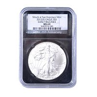 2012 S Silver American Eagle MS69 ER NGC Retrol Black Label