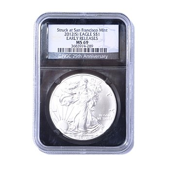 435-051 - 2012 Silver American Eagle MS69 NGC ER Coin w/ Retro Black Label Holder