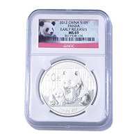 2012 1 OZ Silver China Panda 10 Yuan MS69 NGC Early Releases