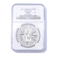 2011 1 OZ Silver Great Britain Britannia 2 Pounds MS69 NGC