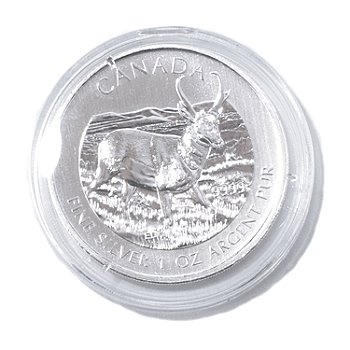 435-059 - 2013 1 oz Silver BU Canadian Antelope $5 Coin w/ Display Box