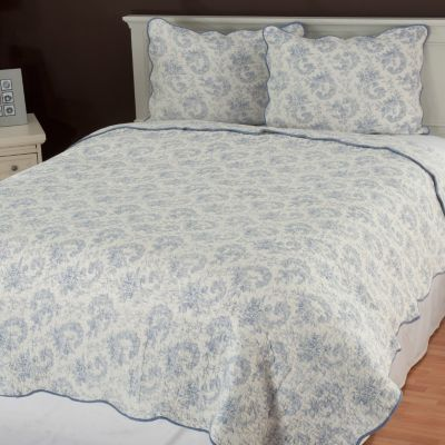 "435-134 - North Shore Linens™ ""Lismore"" Cotton Three-Piece Quilt Set"