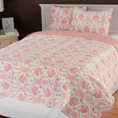 "435-136 - North Shore Linens™ ""Cameo Toile"" Three-Piece Quilt Set"