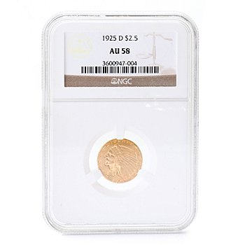 435-220 - 1925 Gold Indian NGC AU 58 $2.50 Coin