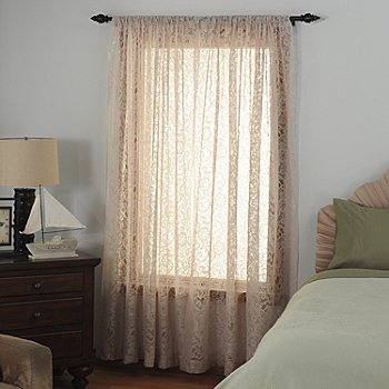435-368 - Laura Ashley® ''Beatrice Lace'' Microfiber Window Panel Pair
