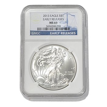 435-583 - 2013 Silver American Eagle NGC MS69 Early Release One Dollar Coin