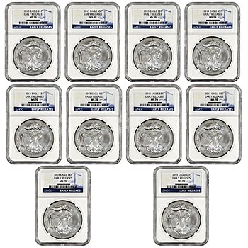 435-588 - 2013 $1 Silver Eagle MS70 NGC Early Release Set of 10 Coins