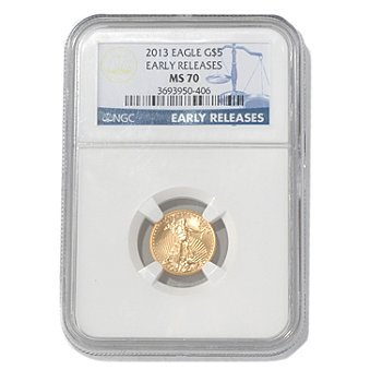 435-593 - 2013 Gold American Eagle NGC MS70 Early Release Five Dollar Coin