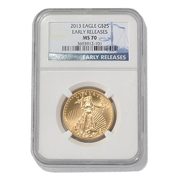 435-597 - 2013 $25 Gold Eagle MS70 NGC Early Release Coin
