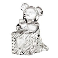 Waterford Crystal Teddy Bear on Block