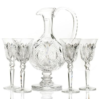 435-637 - House of Waterford® Georgian Crystal Claret Jug w/ Four Glasses