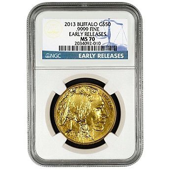 435-828 - 2013 Gold American Buffalo NGC MS70 Early Release $50 Coin