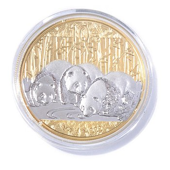 435-999 - 2013 1oz Silver BU China Panda 10 Yuan Gold Select Coin