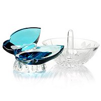 Waterford Crystal Butterfly Ring Holder & Aquamarine Butterfly Set