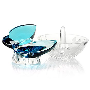 436-080 - Waterford® Crystal 4'' Butterfly Ring Holder & 3.5'' Aqua Butterfly Set