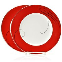 Waterford Ballet Ribbon Red Accent Set of 2 Salad Plates