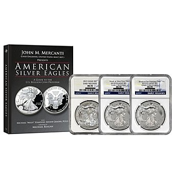 436-251 - 2013 Silver Eagle MS70 NGC Set of Three Early Release Coins w/ Book