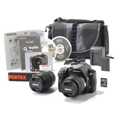 "436-304 - Pentax 16MP 3"" TFT Camera Kit w/ Two Zoom Lenses 8GB SDHC Card & Case"