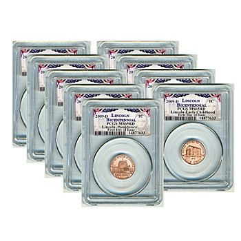 436-468 - 2009 Lincoln Bicentennial MS65RD PCGS Nine-Piece Coins