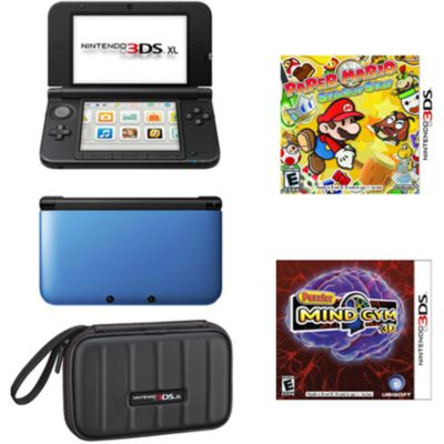 436-598 - Nintendo 3DS XL Blue & Black Paper Mario Bundle