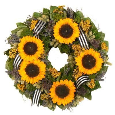 "436-754 - TCTC Sunflower Bouquet 18"" Dried Floral Wreath"