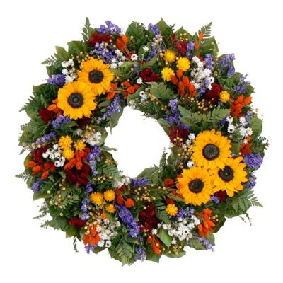 "436-755 - TCTC Swanky Sunflower 22"" Dried Floral Wreath"