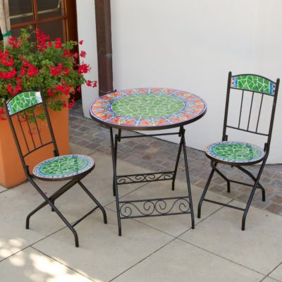 436-819 - RST™ Outdoor Decorative Viva Mexicana Orange Ceramic Tile Bistro Table & Chairs Set