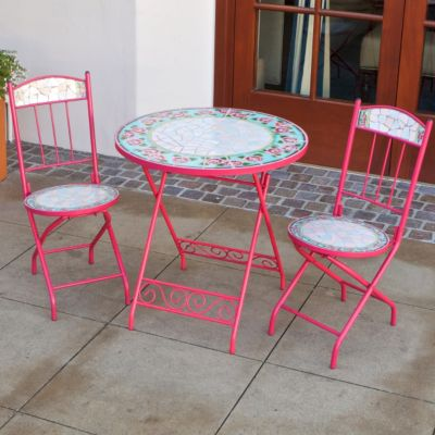436-825 - RST™ Outdoor Decorative Jaded Rose Ceramic Tile Bistro Table & Chairs Set