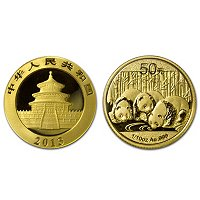 2013 1/10 Oz Gold China Panda w/Display Box