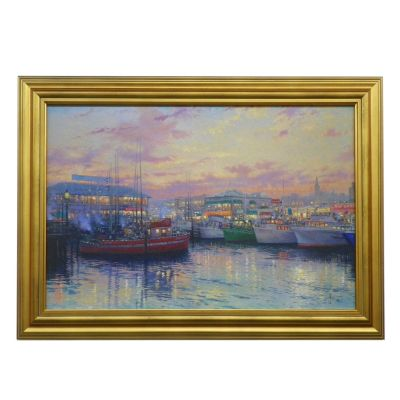 "436-863 - Thomas Kinkade ""Fisherman's Wharf, San Francisco"" Framed Textured Print"