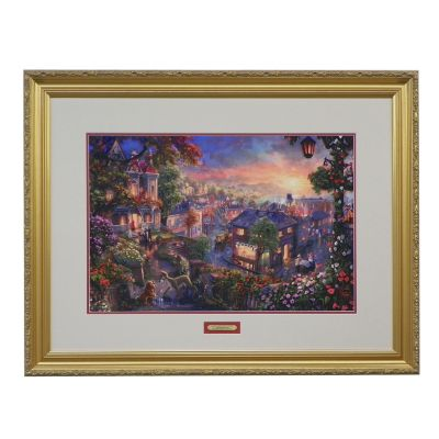"436-871 - Thomas Kinkade ""Lady and the Tramp"" Limited Edition Framed Print"