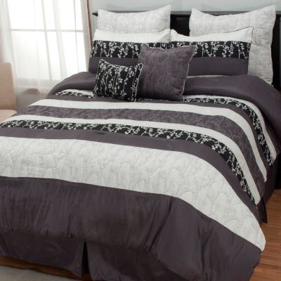 "437-028 - North Shore Linens™ ""Midnight Leaf"" Eight-Piece Bedding Ensemble"