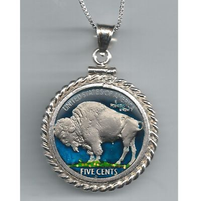 "437-542 - Sterling Silver Hand Painted Buffalo Nickel Pendant w/ 18"" Chain"