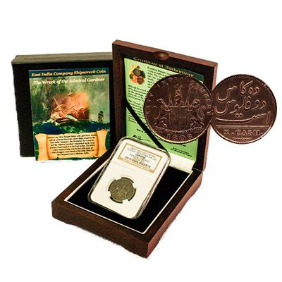 437-589 - 1808 Admiral Gardner Shipwreck Coin w/ Display Box