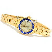 STSTL WTCH INVICTA WOMEN'S MINI PRO DIVER QUARTZ 18K GOLD IP BRACELET