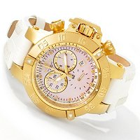 STSTL WTCH INVICTA LADY SUBAQUA NOMA III SWISS QUARTZ CHRONOGRAPH GENUINE LEATHER STRAP
