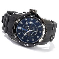 STSTL WTCH INVICTA PRO DIVER SCUBA GMT BLACK IONIC PLATED CASE POLYURETHANE STRAP WATCH