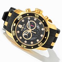 INVICTA PRO DIVER SCUBA CHRONOGRAPH 18K GOLD PLATED CASE POLYURETHANE STRAP WATCH