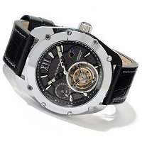 ANDROID MEN'S VIRTUOSO TUNGSTEN TOURBILLON LTD EDITION LEATHER STRAP WATCH
