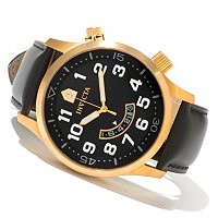 INVICTA II QUARTZ MOVEMENT STAINLESS STEEL CASE LEATHER STRAP WATCH