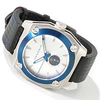 ANDROID MEN'S SILVERJET SUN & MOON QUARTZ STAINLESS STEEL CASE LEATHER STRAP WATCH