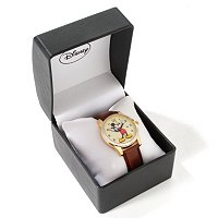 DISNEY MEN'S MICKEY MOUSE 3-D DIAL DESIGN QUARTZ LEATHER STRAP WATCH