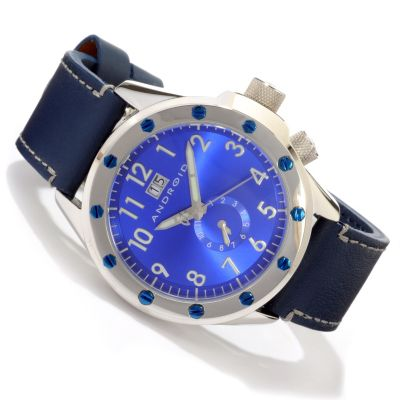 605-154 - Android Men's Espionage Quartz Stainless Steel Case Leather Strap Watch