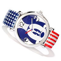 DISNEY WOMEN'S MICKEY MOUSE QUARTZ RED WHITE & BLUE EXPANSION BRACELET WATCH