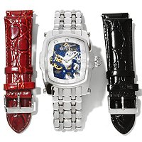 INVICTA MEN'S LUPAH MECHANICAL SKELETONIZED DIAL STAINLESS STEEL CASE 3 PC STRAP SET WATCH