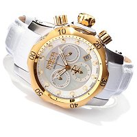 INVICTA RESERVE VENOM WOMEN'S SWISS QUARTZ CHRONOGRAPH STAINLESS STEEL CASE LEATHER STRAP WATCH