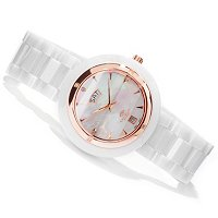 ONISS WOMEN'S DIAMOND ACCENTED MOTHER OF PEARL DIAL CERAMIC BRACELET WATCH