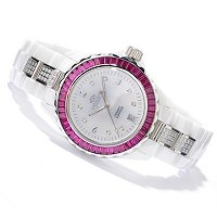 ONISS WOMEN'S PRINCESS COLLECTION BAGUETTE CRYSTAL CERAMIC BRACELET WATCH